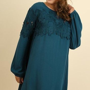 Umgee Round Neck Dress with Crochet Detail