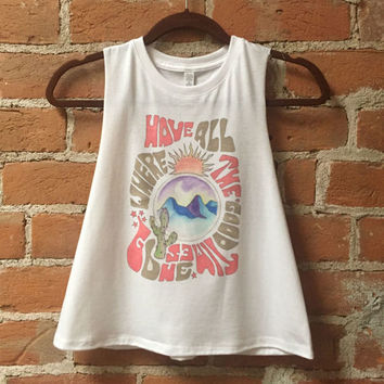 Good Times Cropped Racerback Tank | white tank top loose flowy crop Top 50/50 soft Thin festival graphic tank muscle tank 70s style cactus