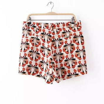 Summer Print High Rise Casual Slim Pants Shorts [4917849412]