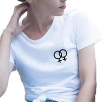 Lesbian T-shirt Hipster Printing Short Sleeve Cotton Tshirt Equality and Tolerance  Graphic Tee Shirt Hipster Women Clothing