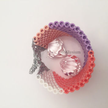 Aliysium Limited Edition Handmade Woven Colour Block Peach Coral White Beaded Bracelet Crochet Statement Cuff Spring Jewellery