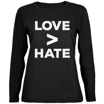 ICIK8UT Activist Love is Greater Than Hate Ladies' Relaxed Jersey Long-Sleeve Tee