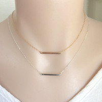 Dainty Skinny Bar Necklace, Sterling Silver Bar, 14K Gold Filled Bar, Layered Necklace, Choker Bar Necklace, Minimalist Necklace, StampedEve
