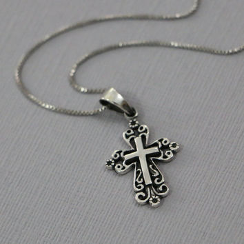 Sterling Silver Cross Necklace, Oxidized Sterling Silver Cross Pendant on Rhodium Plated Sterling Silver Necklace Chain