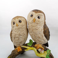 "Vintage Ceramic Owl Figurines 5"", A Pair of Owl Figures Peering at You, Ceramic Pair of Owls on a Limb, Vintage Home Decor"