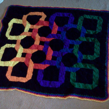 Rainbow Rings afghan with black, yellow, orange, red, purple, blue, and green granny squares READY TO SHIP