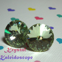 Mint Green Chrysolite Rivolis - Crystal Post Earrings handmade with Swarovski Elements, 14mm Studs