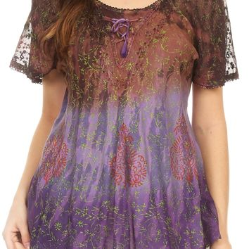 Sakkas Nayen Tie-Dye Sheer Cap Sleeve Embellished Relaxed Fit Drawstring Tunic Top