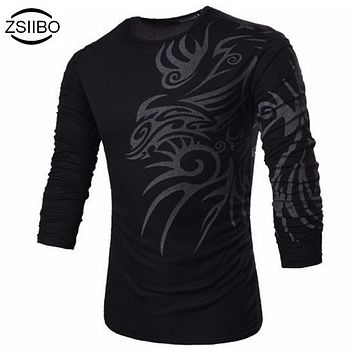ZSIIBO TX 71 TX73 2016 NEW Summer Fashion print flowers New long Sleeve T-Shirts Men,Tees,Korea Slim design, TX73