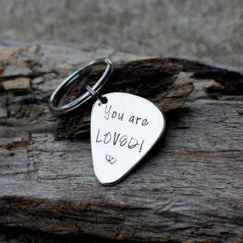 you are loved keychain Guitar pick