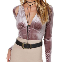 Victorian Velvet Cut Out Bodysuit Mauve