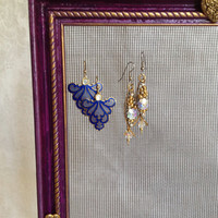 Standing Earring Holder in Purple and Gold Hand Painted