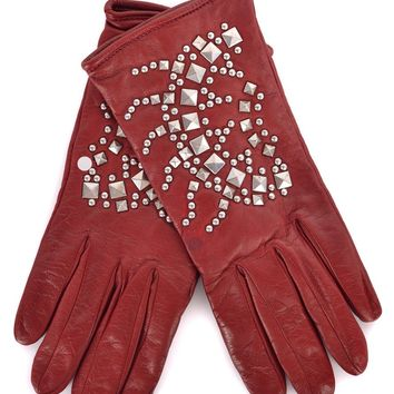 0db5ba440aedc Roberto Cavalli Red Leather Wool Lined Silver Studded Gloves