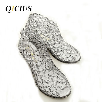 QICIUS Summer Sandals Women Peep Toe Wedge Sandals Sweet Jelly Shoes Woman Shoes For Lady Size Plus 36-41 B0010