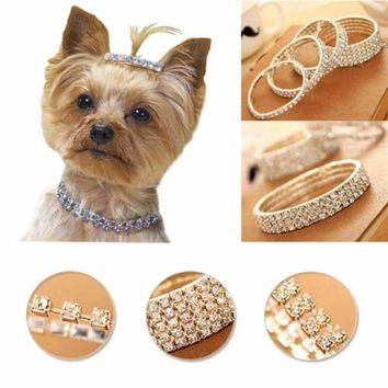 2017 New Jewelry Rhinestone Pet Collar Necklace Very Gemstone Dog Collars Dogs Pet Supplies S M L Pet Products