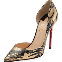 Christian Louboutin Iriza Palm-Print Red Sole Pump, Black/Gold