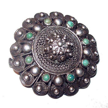 Victorian Turquoise 800 Silver Brooch Signed Cannetille Filigree Tube Fastener OLD Vintage