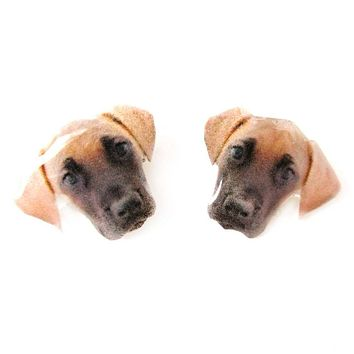 Realistic Great Dane Face Shaped Animal Resin Stud Earrings | Made To Order | Handmade
