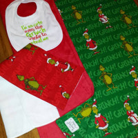GRINCH Baby BLANKeT BURP & BiB 3 PC GiFT Set for Baby's Grinchmas Red   Snuggly So SilKy Soft Minky JuST ADoRABLE! READy 2 ShiP NoW!
