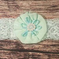 Teal Lace and Pearl Decorated Flower Headband
