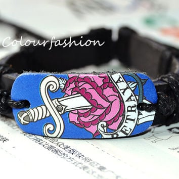 Christmas Gift, Fantasy Halloween Sword and Rose Paint Bracelet, Charm Black Leather Cuff Adjustable Waxed cotton rope Bracelet