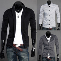 Tunic Style Slim Fit Men's Blazer Jacket
