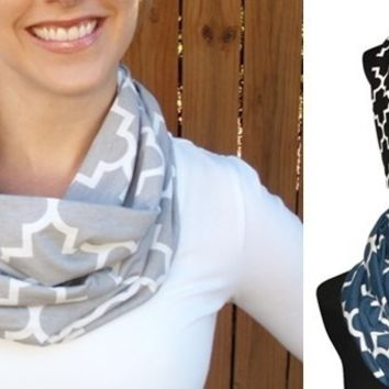 Chic Quatrefoil Infinity Scarves-8 Colors-Perfect Gameday & Gifts!