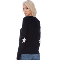 Black  Star Elbow Pullover Sweater