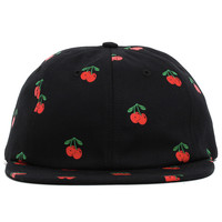 Cherry 6-Panel Strapback Hat Black