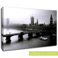 7544-LONDON BLACK AND WHITE City Canvas Art Wall Print A2 Size