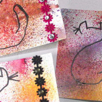 Blank notecards cat art handmade set of four