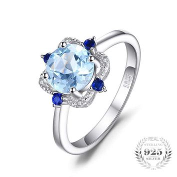 Natural Sky Blue Topaz with Inlay Sapphire Ring 925 Sterling Silver