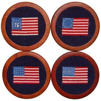 American Flag Needlepoint Coasters in Navy by Smathers & Branson
