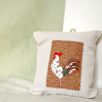 Lingerie bag with rooster in taupe by BozenaWojtaszek on Etsy