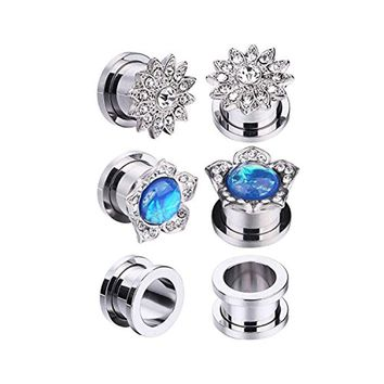 BodyJ4You 6PCS Screw Fit Ear Plugs Surgical Steel Created-Opal Stretch Flower Gauges Set 00G