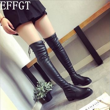 EFFGT 2017 autumn winter long boots NEW style women flat low heel over the knee boots female lace up Thigh High Boots C870