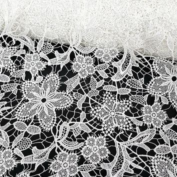 """By the Yard, White Elegent Flower Embroidered Venice Lace Guipure Fabric, Graceful, Apparel, Evening Wear, Special Ocassion, 42"""""""
