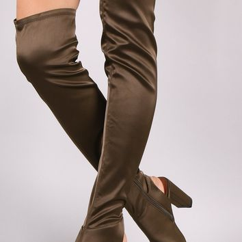 Qupid Satin Peep Toe Chunky Heeled Over-The-Knee Boots