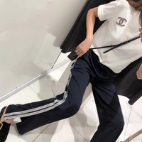 """Chanel"" Women Casual Fashion Short Sleeve T-shirt Sequin Stripe Split Leisure Pants Trousers Set Two-Piece"