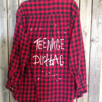 "Soft Plaid flannel ""Teenage Dirtbag"" hand bleached shirt // soft grunge//"