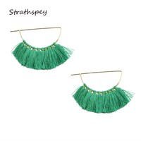 Trendy Ethnic Bohemia Cotton Tassel Drop Dangle Statement Earrings Green Beautiful for Women Pendant Exaggerate Handmade Jewelry