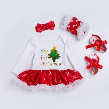 Newborn Dress 4pcs/set My 1st Christmas Baby Girls Clothes Toddler Girl Clothing Set Infant Deer Fesstival Costume Xmas Gifts