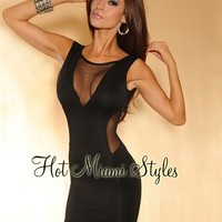 Black V Back Mesh Dress
