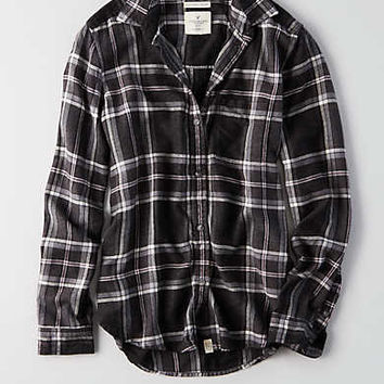 AEO Ahh-mazingly Soft Boyfriend Plaid Shirt , Black