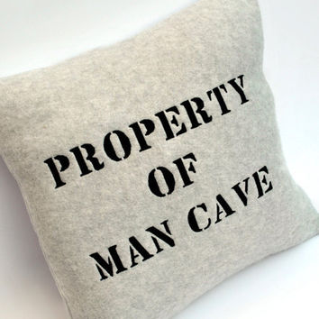 Gray Fleece Property of Man Cave Pillow by YellowBugBoutique