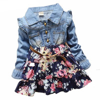 Patchwork Denim Floral Girls Kids Dresses