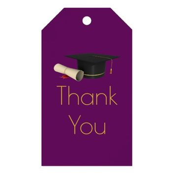 Graduation Cap and Diploma on Purple Thank You Gift Tags