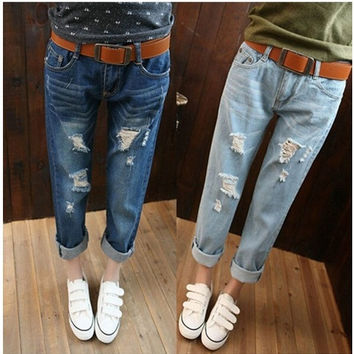 Loose plus size hole jeans female trousers ripped jeans woman denim boyfriend jeans for women QY3929QAF = 1930184516