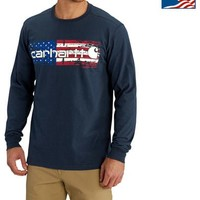 Carhartt Men's Navy Lubbock Graphic Distressed Flag Long Sleeve T-Shirt