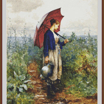 Portait of a Woman with Umprella Gathering Water - Counted cross stitch pattern in PDF format